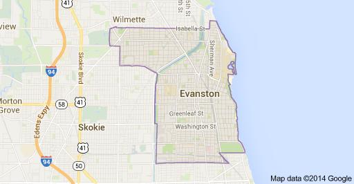 Evanston google map